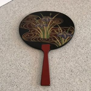 Vintage black lacquer hand mirror - gold burgundy